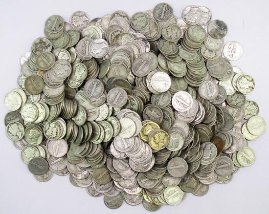 4.8 Pounds of Mercury Silver Dimes.