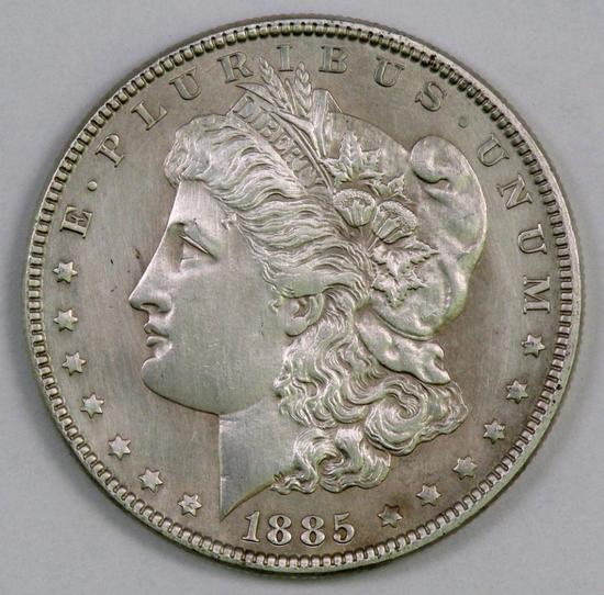 1885 P Morgan Silver Dollar.