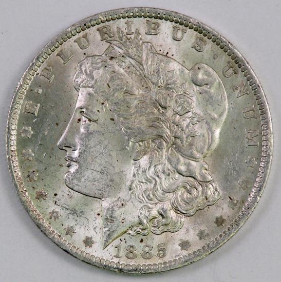 1885 O Morgan Silver Dollar.