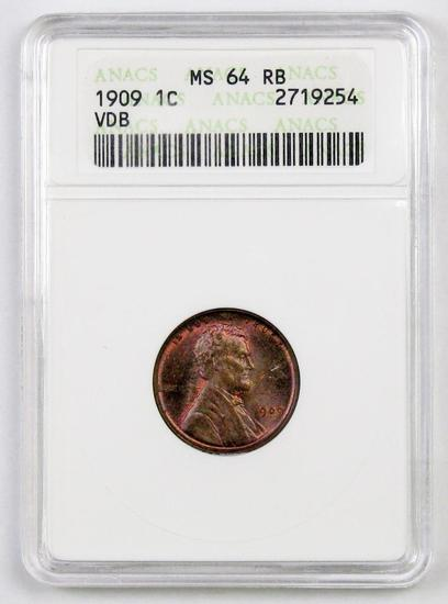 1909 VDB Lincoln Wheat Cent (ANACS) MS64RB