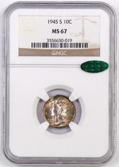 1945 S Mercury Dime (NGC) MS67 with CAC.