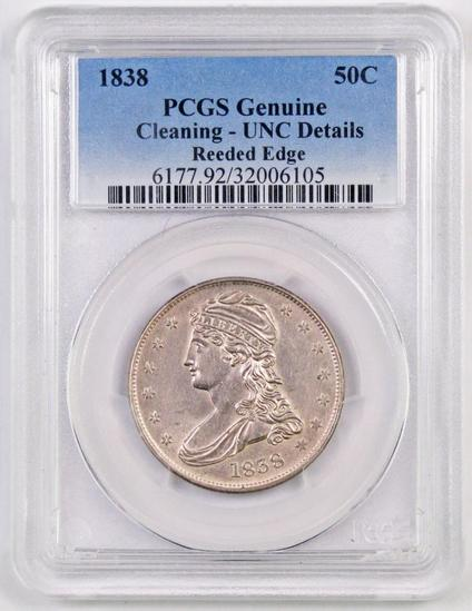 1838 Capped Bust Half Dollar (PCGS) Genuine Unc Details Cleaning.