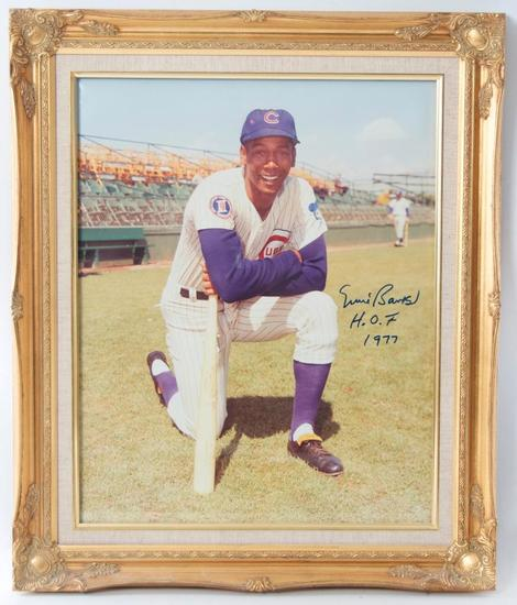 Signed Chicago Cub Ernie Banks Photograph in Gilded Frame