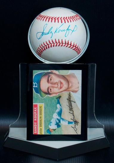 Signed Brooklyn Dodgers Sandy Koufax Baseball with Trading Card and Display