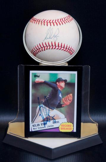Signed Houston Astro Nolan Ryan Baseball and Trading Card with Display