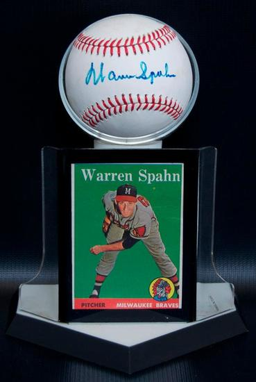 Signed Milwaukee Brave Warren Spahn Baseball with Trading Card and Display