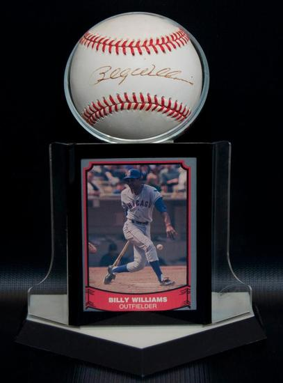 Signed Chicago Cub Billy Williams Baseball with Trading Card and Display