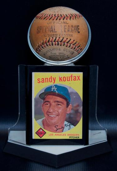 LA Dodgers Pitcher Sandy Koufax 1959 Trading Card with Special League Ball and Display
