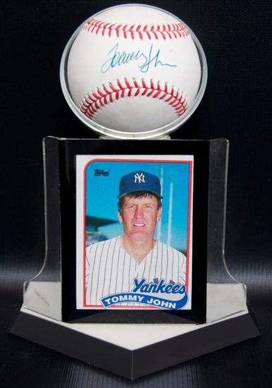 Signed New York Yankee Tommy John Baseball with Trading Card and Display