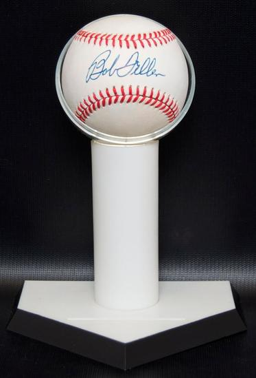 Signed Cleveland Indian Bob Feller Baseball with Display