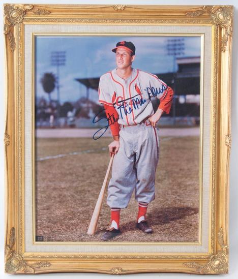 "Signed St. Louis Cardinal Stan ""The Man"" Musial Photograph in Gilded Frame"