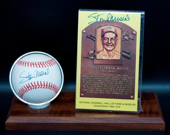 Signed St. Louis Cardinal Stan Musial Baseball and HOF Postcard with Display