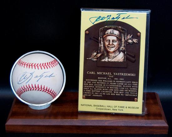Signed Boston Red Sox Carl Yastrzemski Baseball and HOF Postcard with Display