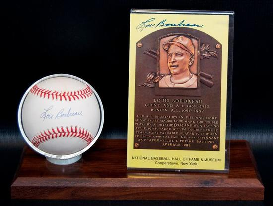 Signed Cleveland Indian Louis Boudreau Baseball and HOF Postcard with Display