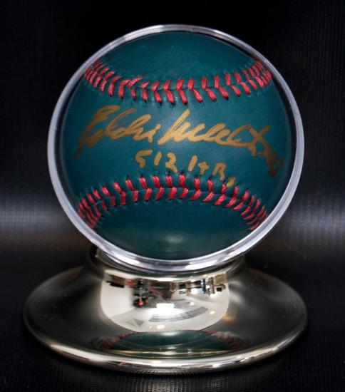 Signed Milwaukee Brave Eddie Mathews Baseball with Holder