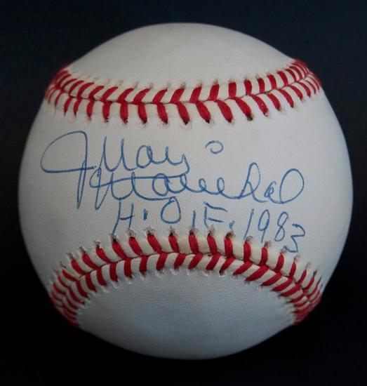 Signed LA Dodger Juan Marichal HOF 1983 Baseball with Holder