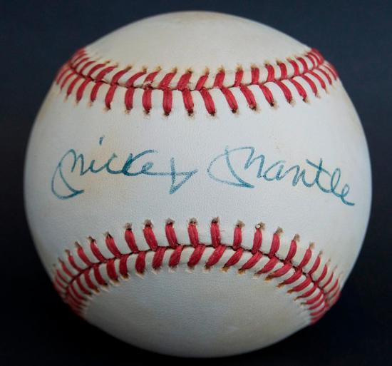 Signed New York Yankee Mickey Mantle Baseball with JSA COA