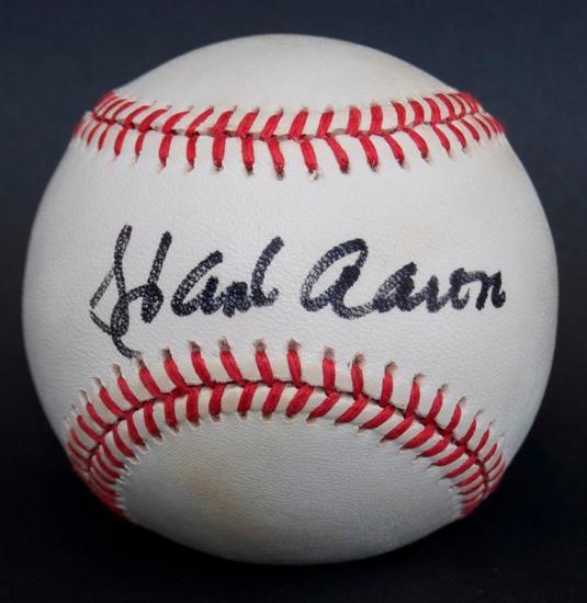 Signed Milwaukee Braves Hank Aaron Baseball with SGC COA