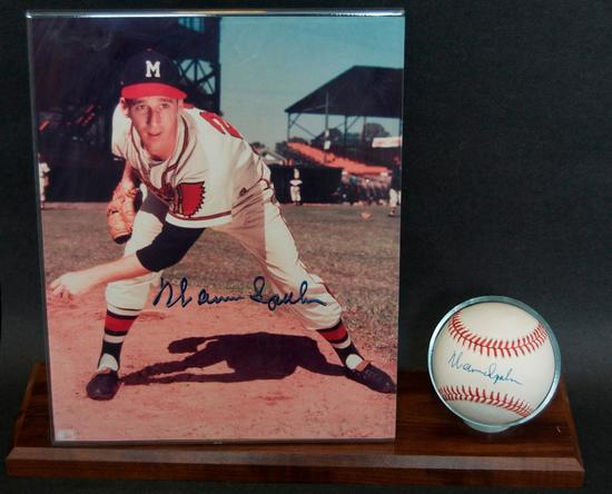Signed Milwaukee Brave Warren Spahn, Baseball and Photograph with Display