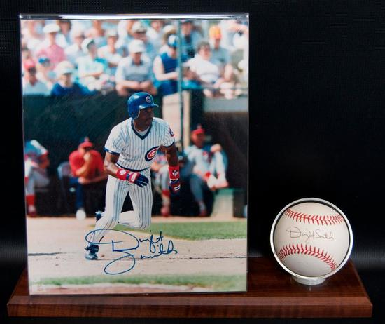 Signed Chicago Cub Dwight Smith Baseball and Photograph with Display