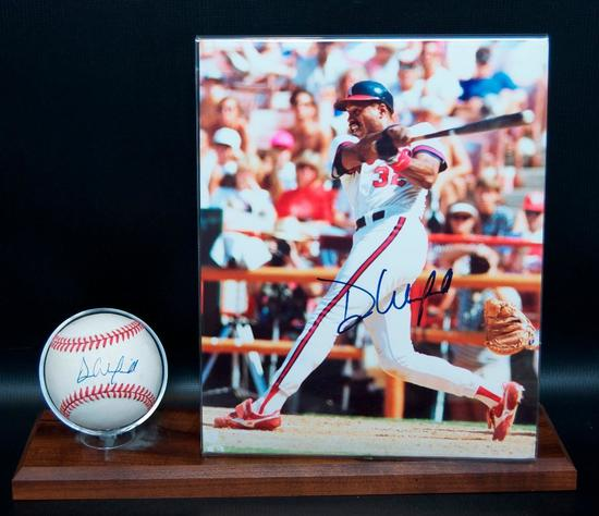Signed California Angels Dave Winfield Baseball and Photograph with Display