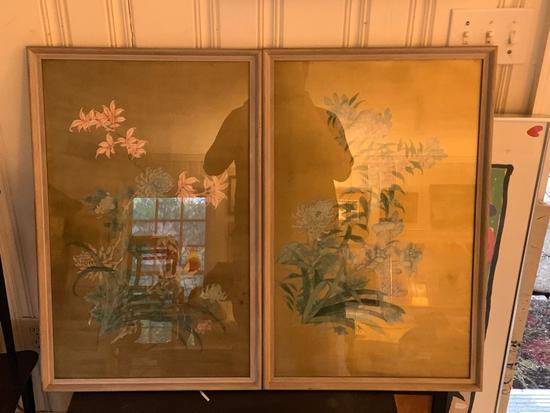 Group of 2 hand painted oriental artwork with floral design