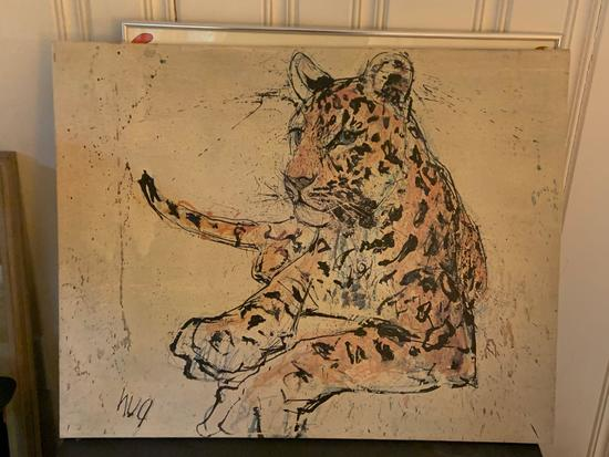 Oil painting of a Leopard on canvas