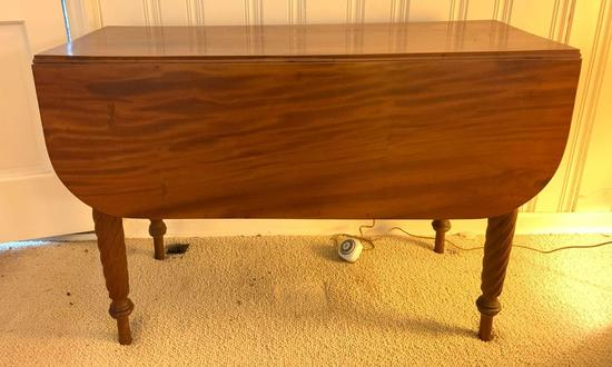 Antique walnut dropleaf table with turned legs