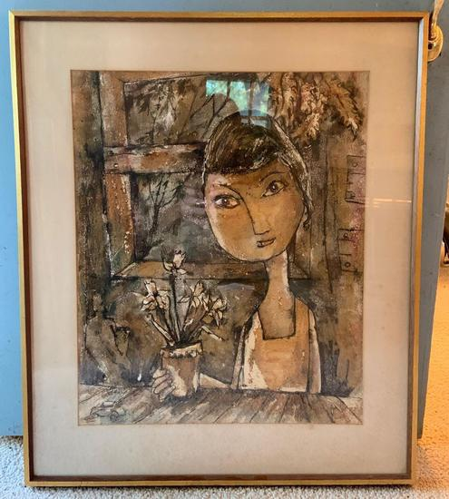 Mixed media painting of a girl with flower pot