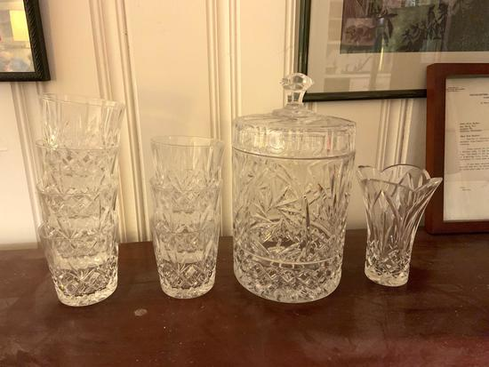 Pressed glass tumblers, ice bucket, and vase