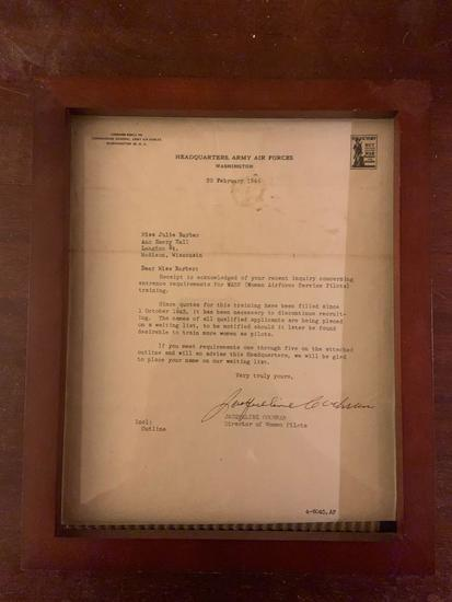 World War II wasp (women?s Air Force service pilots) Rejection letter