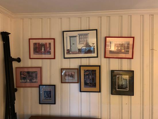Group of eight photographs and prints of bicycle scenes