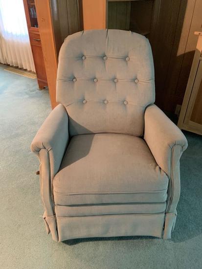Cream upholstered recliner