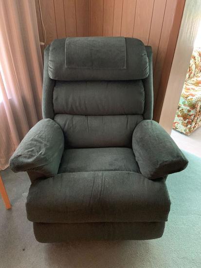 Bluish green recliner