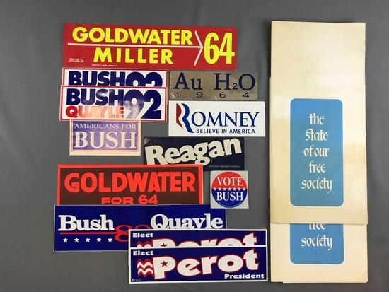 Group of Political Bumper Stickers and more