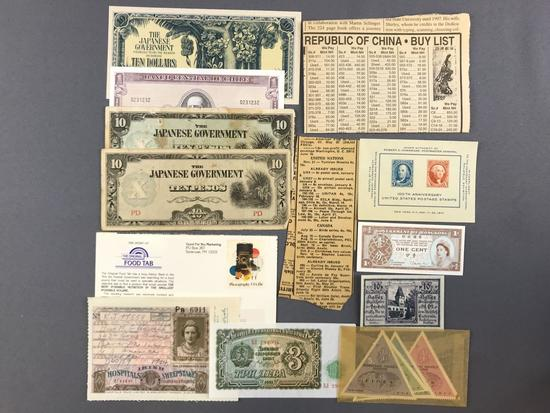Group of banknotes and more