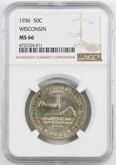 1936 Wisconsin Commemorative Silver Half Dollar (NGC) MS66.