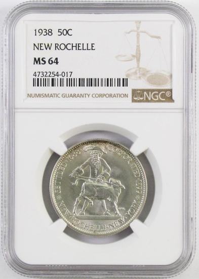 1938 New Rochelle Commemorative Silver Half Dollar (NGC) MS64.