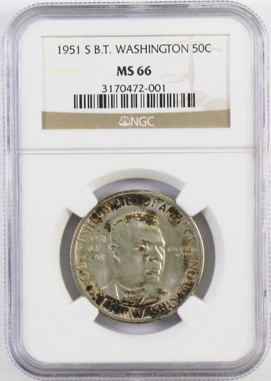 1951 S Booker T. Washington Commemorative Silver Half Dollar (NGC) MS66.