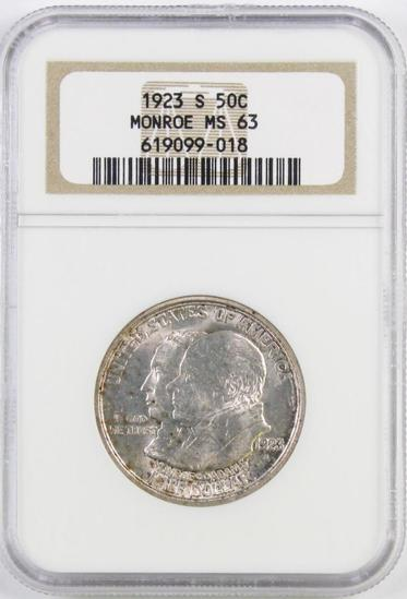 1923 S Monroe Commemorative Silver Half Dollar (NGC) MS63.