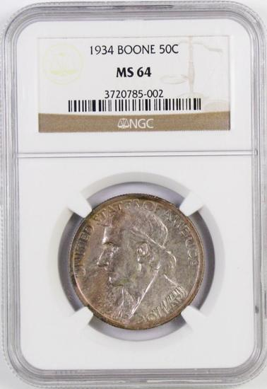 1934 Boone Commemorative Silver Half Dollar (NGC) MS64.