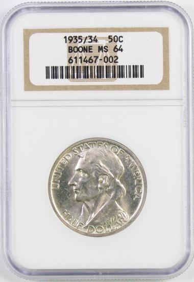 1935/34 Boone Commemorative Silver Half Dollar (NGC) MS64.