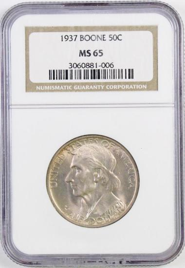 1937 Boone Commemorative Silver Half Dollar (NGC) MS65.