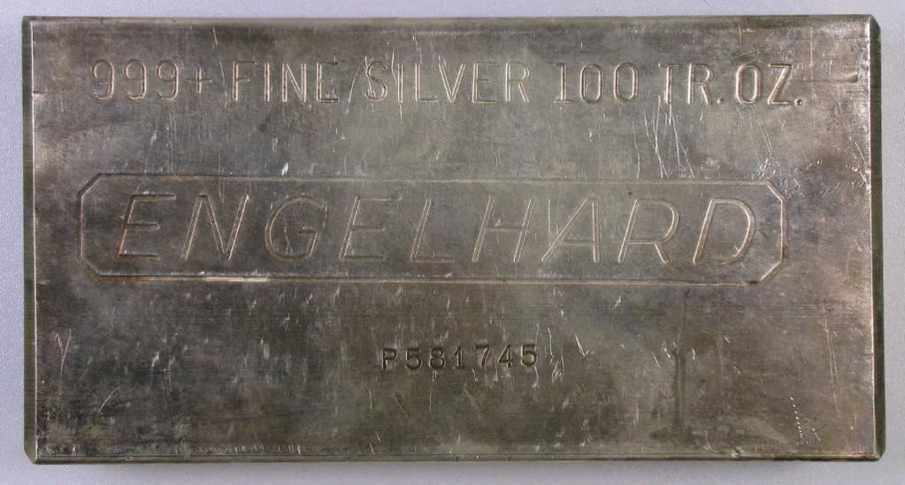 Engelhard .999 Fine Silver 100oz. Bar.