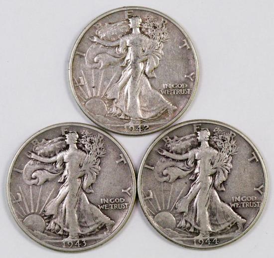 Lot of (3) Walking Liberty Silver Half Dollars.