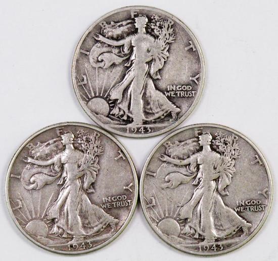 Lot of (3) 1943 P Walking Liberty Silver Half Dollars.