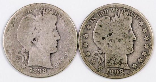 Lot of (2) Barber Silver Half Dollars.