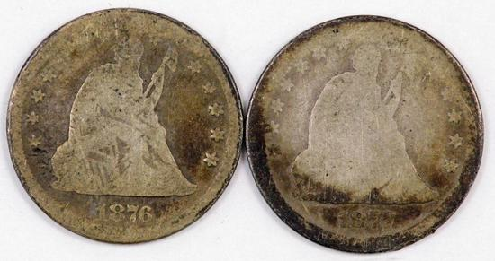 Lot of (2) Seated Liberty Silver Quarters.