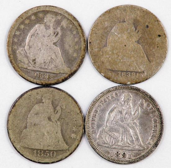 Lot of (4) Seated Liberty Silver Dimes.