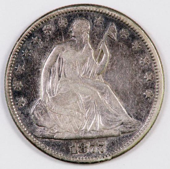 1877 P Seated Liberty Silver Half Dollar.